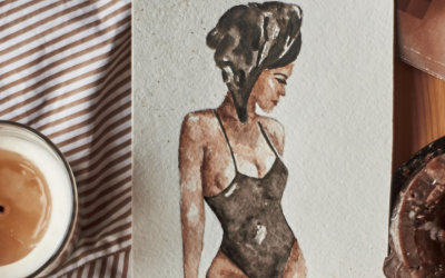 a painting of a female in a swimsuit