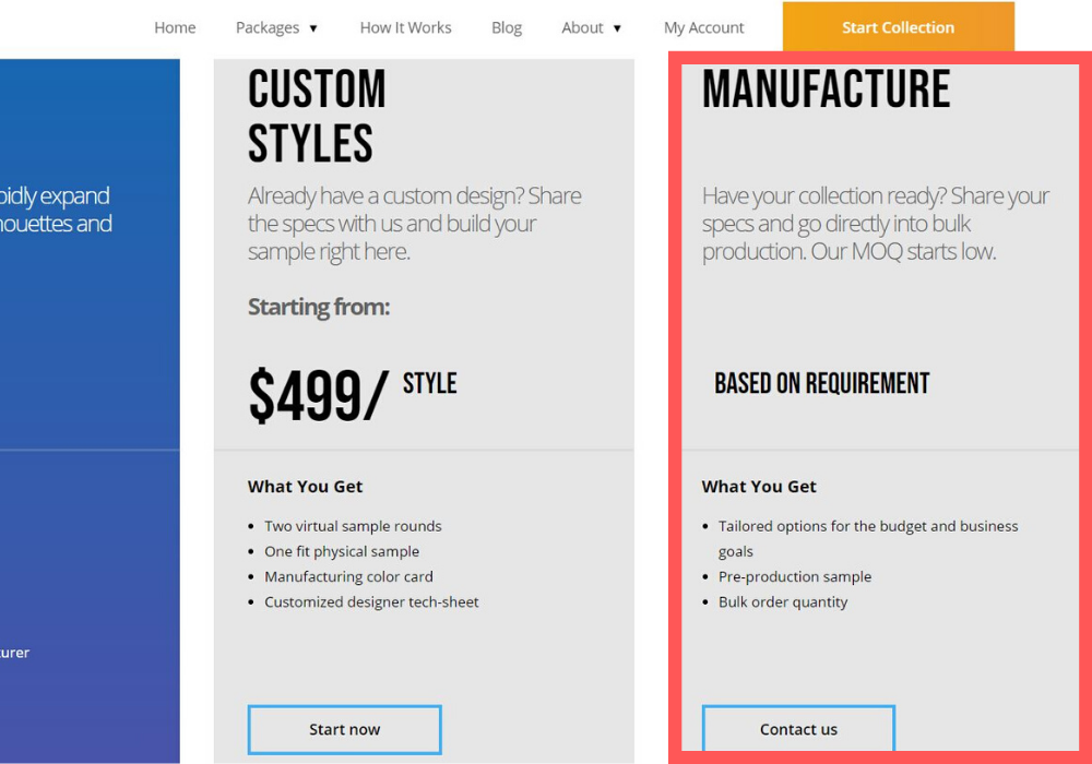 screenshot clicking contact us on manufacturing package in the homepage