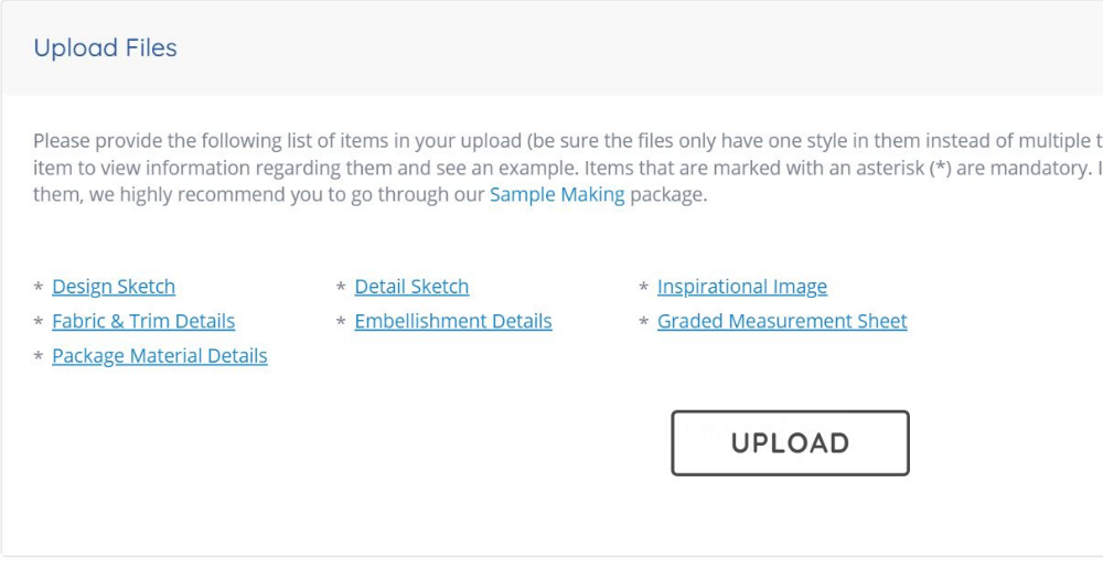 screenshot file upload section in the manufacturing form