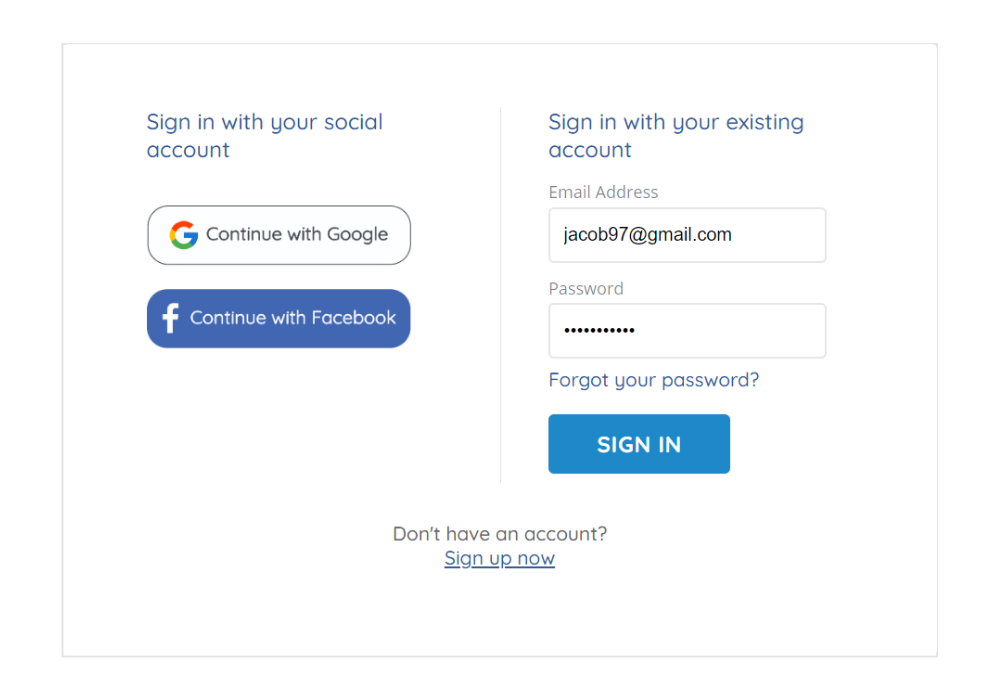 screenshot on login and register page