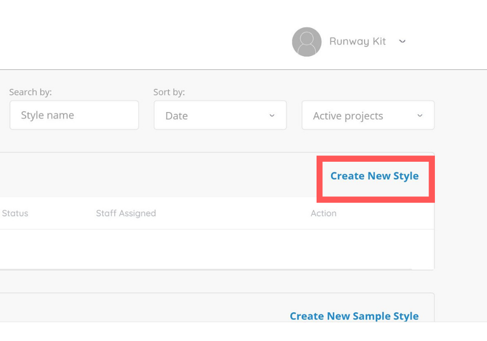 screenshot of create new style button in ready styles dashboard
