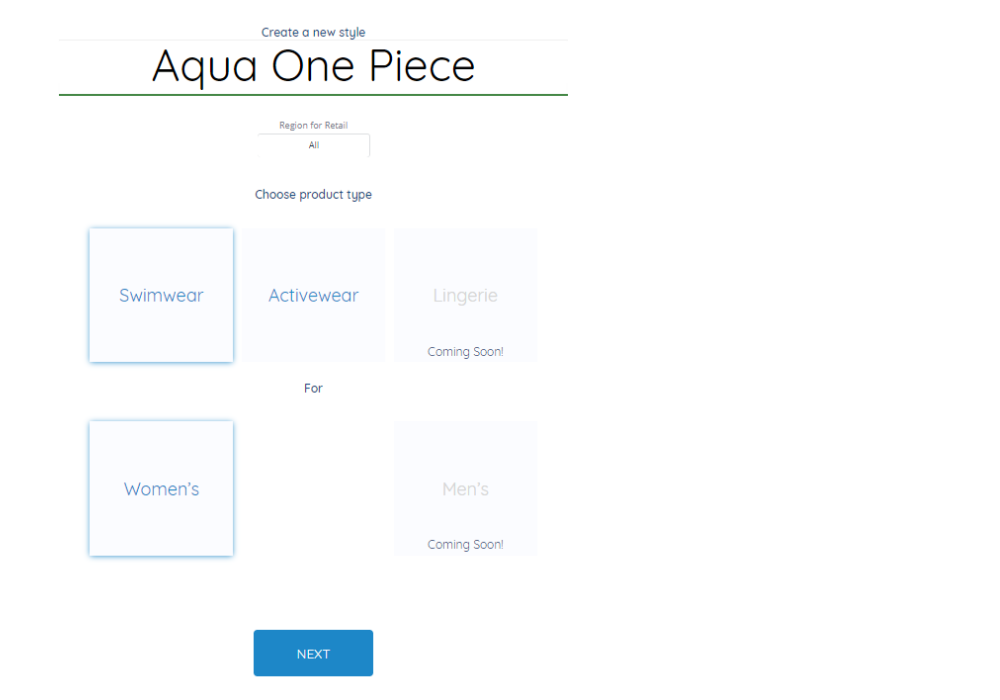 screenshot of starting window of a new style in ready styles