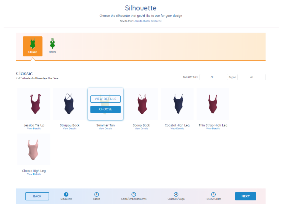 screenshot of selecting silhouettes in ready styles