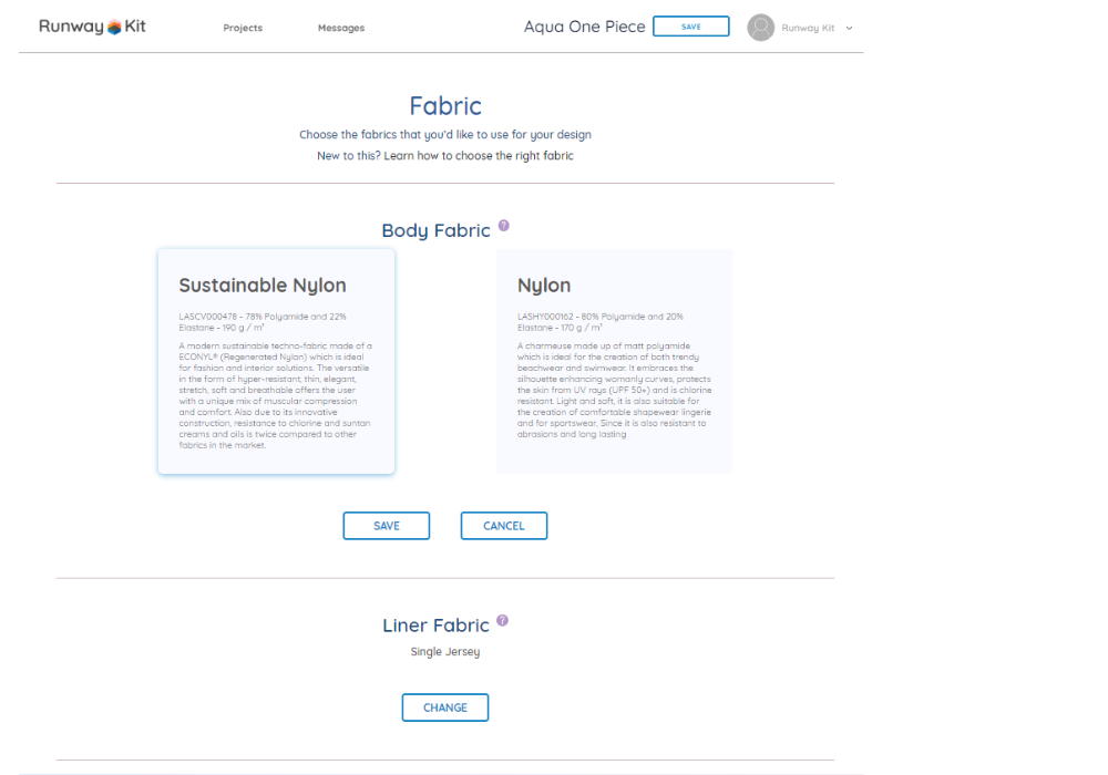 screenshot of fabric selection screen in ready styles