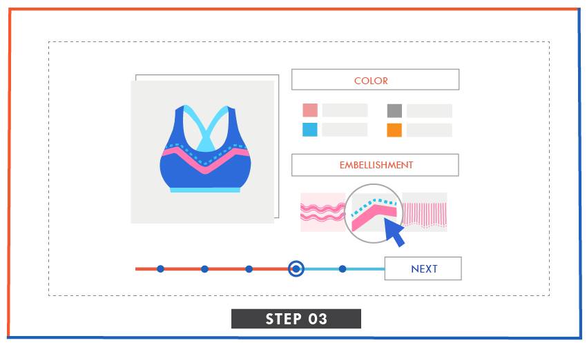 illustration of picking colors and embellishments in runway kit ready styles