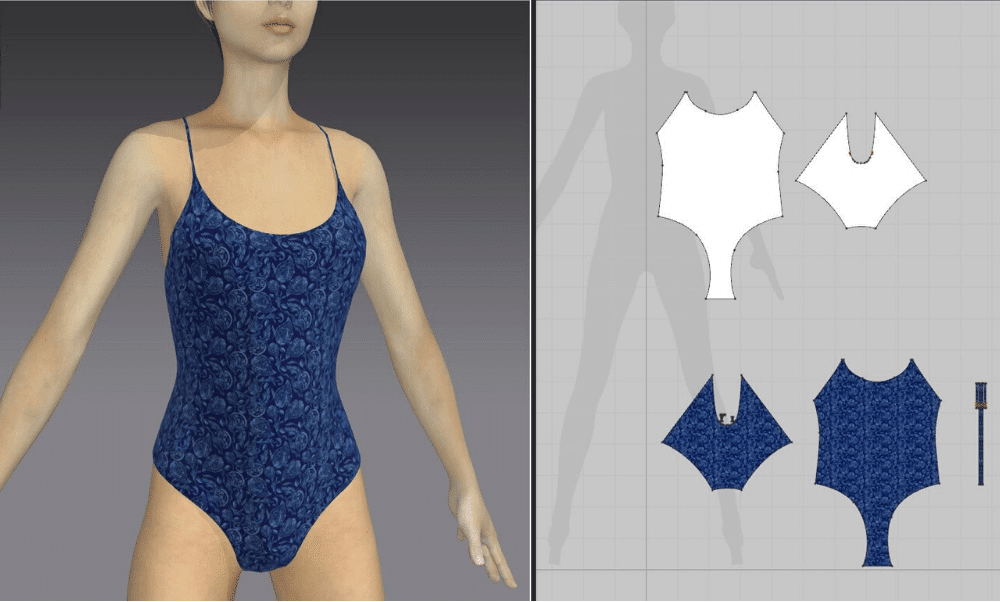 virtual sample of a one piece swimsuit placed on a female avatar