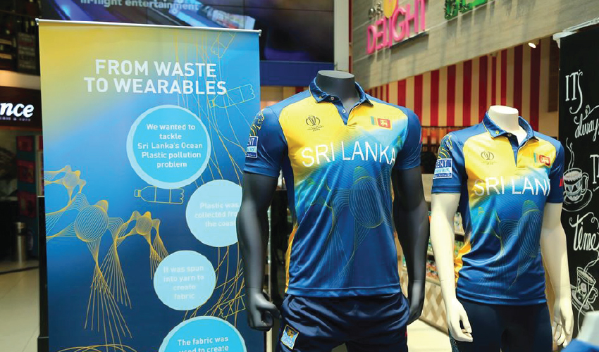 sri lanka cricket world cup 2019 jersey on a mannequin