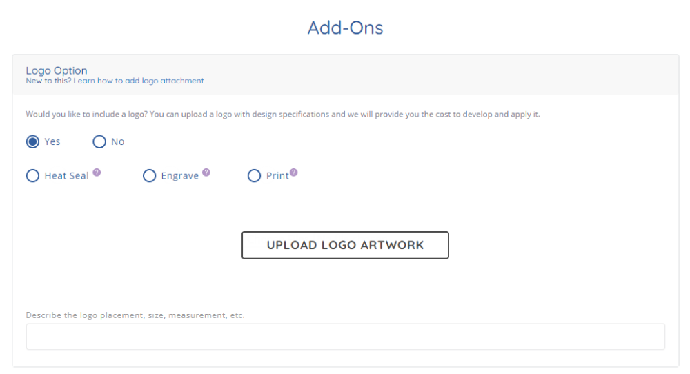 screenshot of logo upload section in custom styles form