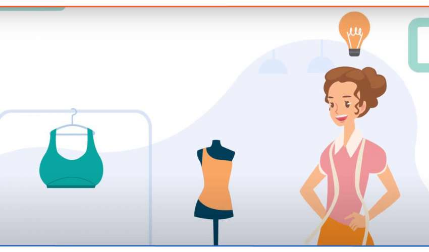 illustration of a fashion entrepreneur near a mannequin and cloth rack